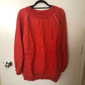 Free People Oversized Orange Ribbed Knit Sweater
